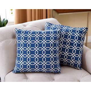 ABBYSON LIVING Avery Navy Blue 18-inch Throw Pillow (Set of 2)
