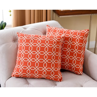 ABBYSON LIVING Avery Orange 18-inch Throw Pillows (Set of 2)