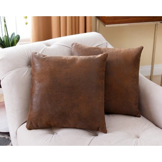 ABBYSON LIVING Antique Brown 18-inch Throw Pillow (Set of 2)