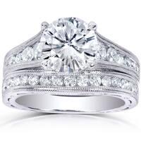 Annello by Kobelli 14k White Gold Certified 2 2/5ct TDW Channel Diamond Bridal Set