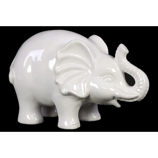 Glossy White Ceramic Standing and Trumpeting Elephant Large Figurine