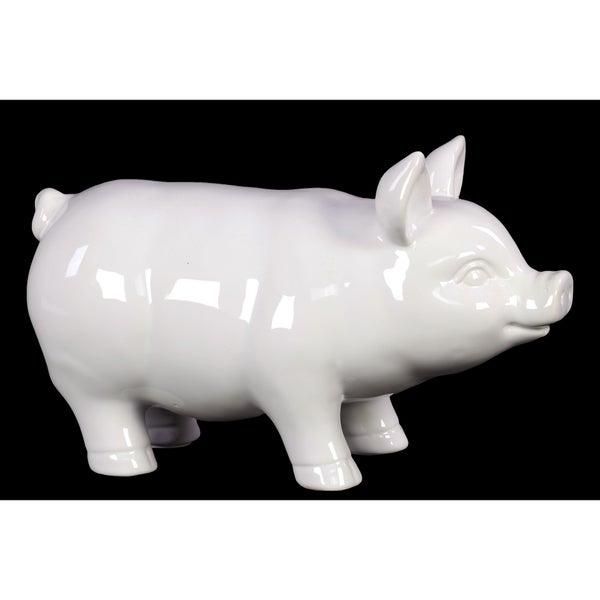 Ceramic Standing Pig Figurine, Gloss White Finish, Large