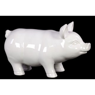 Standing Pig Gloss White Ceramic Large Figurine