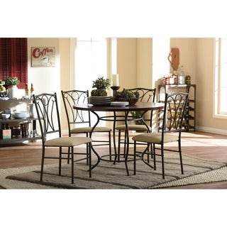 Baxton Studio Greggory Round Walnut Wood and Antiqued Bronze Metal 5-Piece Casual Dining Set