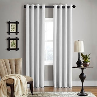 """Grand Luxe Pearl All Linen Gotham Grommet Curtain Panel 84"""" in Pearl (As Is Item)"""