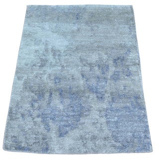 Silk from Rayon from Bamboo Modern Abstract Design Oriental Handmade Rug (2' x 2'10)