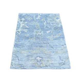 Silk from Rayon from Bamboo Washed Out Oushak Oriental Hand-knotted Rug (2' x 3')