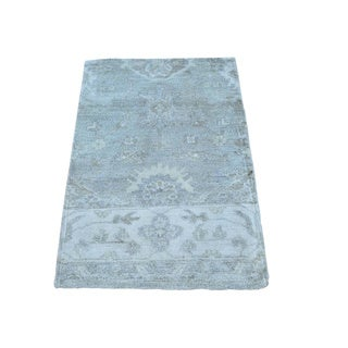 Oushak Silk from Rayon from Bamboo Stone Wash Oriental Hand-knotted Rug (2' x 3')