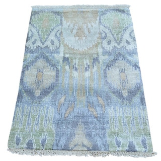 Multicolored Silk from Rayon from Bamboo Ikat Oriental Hand-knotted Rug (2' x 3')