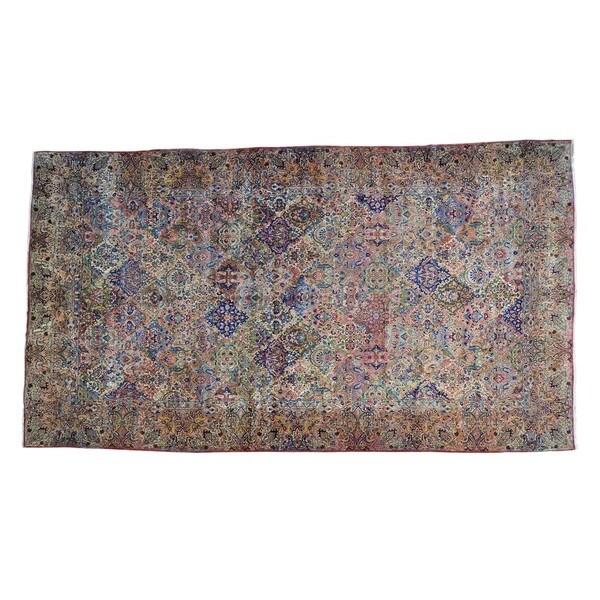 Antique Persian Kerman Handmade Rug - Multi - 10'7 x 18'10