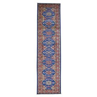 Denim Blue Tribal Design Super Kazak Handmade Runner Rug (2'8 x 10'2)