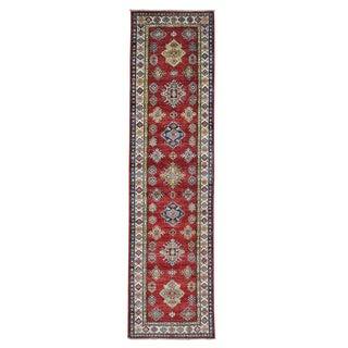 Geometric Design Super Kazak Handmade Runner Rug (2'8 x 10'5)