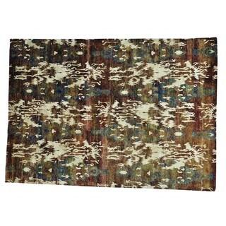 Multicolored Sari Silk Uzbek Design Hand-knotted Rug (9'9 x 13'10)