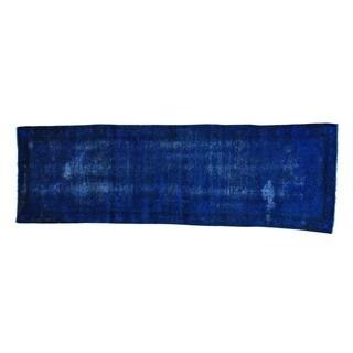 Worn Down Overdyed Persian Malayer Handmade Runner Rug (3' x 9'6)