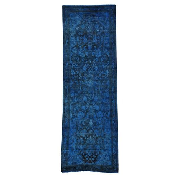 Worn Down Overdyed Persian Lilahan Handmade Runner Rug - 3'3 x 10'