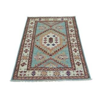 Geometric Design Sky Blue Super Kazak Handmade Rug (2'9 x 4'1)