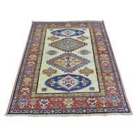 Ivory Super Kazak Wool Oriental Handmade Rug - 3'4 x 4'10