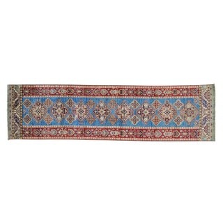 Geometric Design Super Kazak Hand-knotted Runner Rug (2'8 x 10')