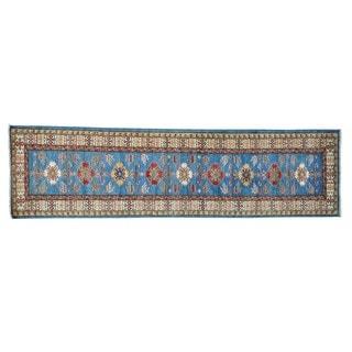 Sky Blue Super Kazak Oriental Hand-knotted Runner Rug (2'9 x 10'3)