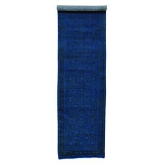 Persian Hussainabad Overdyed Handmade XL Runner Rug (3'5 x 13'7)