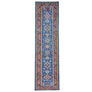 Geometric Design Super Kazak Oriental Handmade Runner Rug (2'8 x 10')