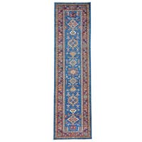 Geometric Design Super Kazak Oriental Handmade Runner Rug (2'8 x 10') - Denim