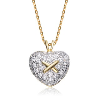 Collette Z Sterling Silver White Cubic Zirconia Gold-Plated Cross Heart Pendant