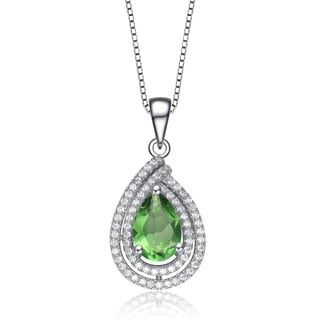 Collette Z Sterling Silver green Cubic Zirconia Teardrop Necklace