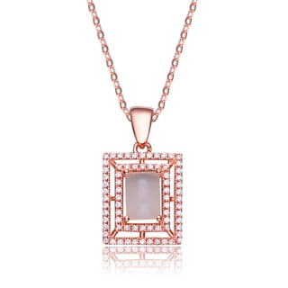 Collette Z Sterling Silver White And Pink Cubic Zirconia Square Frame Pendant