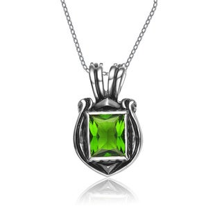 Collette Z Sterling Silver Green Square Cubic Zirconia Detailed Pendant