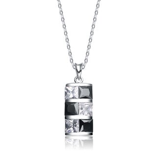 Collette Z Sterling Silver Black And White Rectangular Cubic Zirconia Pendant