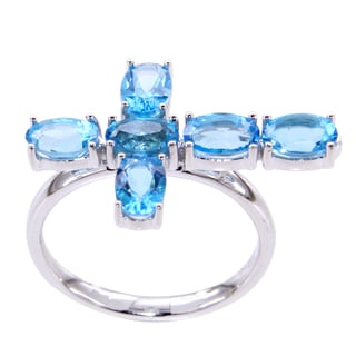 Sterling Silver 6x4 Oval cut Azotic Blue Topaz Cross Ring