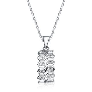 Collette Z Sterling Silver White Cubic Zirconia Beehive Pendant