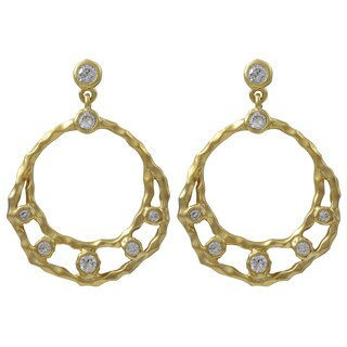 Luxiro Hammered Gold Finish Cubic Zirconia Open Circle Dangle Earrings