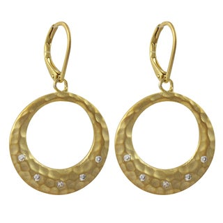 Luxiro Gold Finish Pave Cubic Zirconia Hammered Open Circle Dangle Earrings