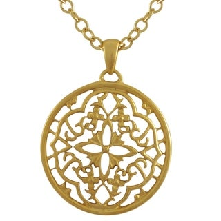 Luxiro Matte Gold Finish Filigree Celtic Circle Medallion Pendant Necklace