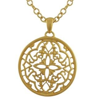 Luxiro Matte Gold Finish Filigree Celtic Circle Medallion Pendant Necklace - White