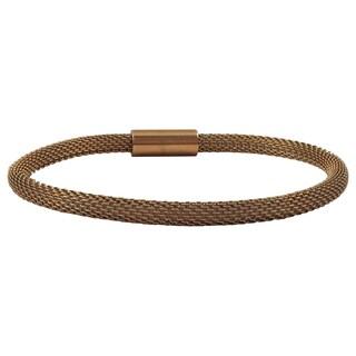Luxiro Gold Finish Metallic Mesh Magnetic Bangle Bracelet
