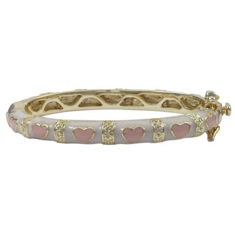 Luxiro Gold Finish Children's White and Pink Enamel Hearts Bangle Bracelet