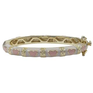 Luxiro Gold Finish Children's White and Pink Enamel Hearts Bangle Bracelet (Option: 7.5 Inch) https://ak1.ostkcdn.com/images/products/10977877/P18000629.jpg?impolicy=medium