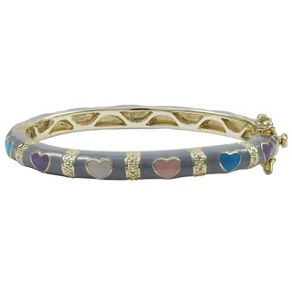 Luxiro Gold Finish Children's Grey and Multi-color Enamel Heart Bangle Bracelet - White (3 options available)