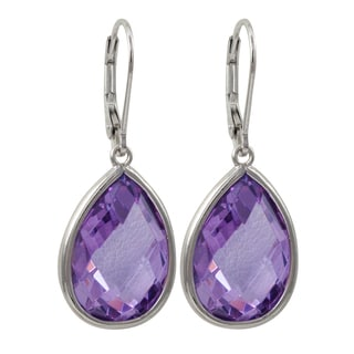 Luxiro Sterling Silver Faceted Glass Teardrop Earrings