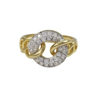 Luxiro Two-tone Sterling Silver Gold Finish Cubic Zirconia Link Ring