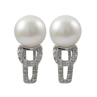 Luxiro Sterling Silver Freshwater Pearl Cubic Zirconia Huggie Earrings