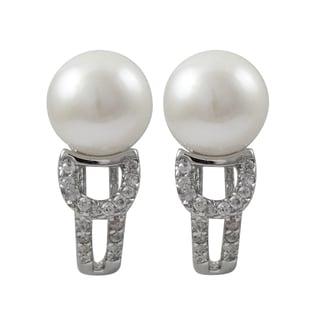 Luxiro Sterling Silver Freshwater Pearl Cubic Zirconia Huggie Earrings