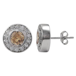 Luxiro Sterling Silver Multi-color Cubic Zirconia Circle Earrings