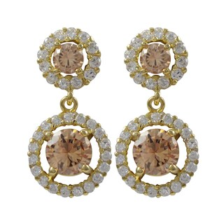 Luxiro Sterling Silver Gold Finish Champagne Cubic Zirconia Circle Dangle Earrings