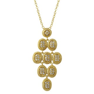 Luxiro Gold Finish Pave Cubic Zirconia Chandelier Pendant Necklace