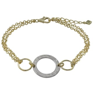 Luxiro Two-tone Gold Finish Hammered Circle Two-row Bracelet