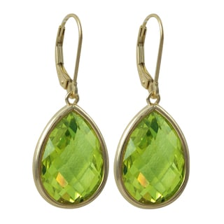 Luxiro Gold Finish Sterling Silver Faceted Glass Teardrop Earrings